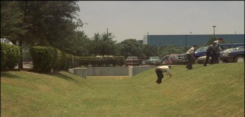 Office workers return from lunch in Austin. (From the movie Office Space)